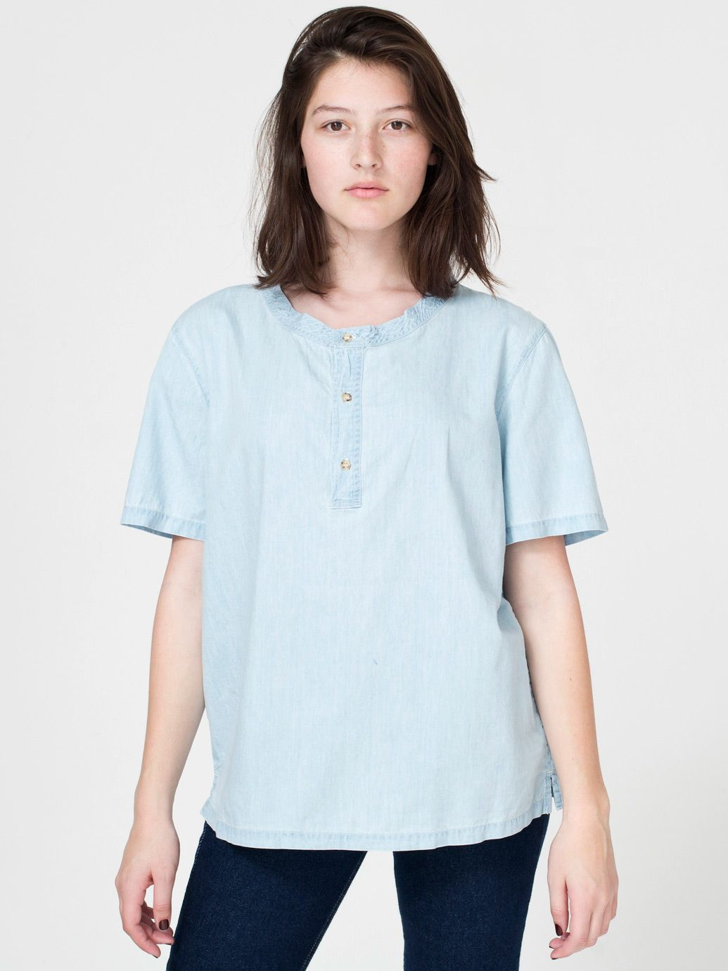 The Unisex Denim Short Sleeve Henley T-Shirt by #AmericanApparel  #denim #t-shirt #aamodels #alex