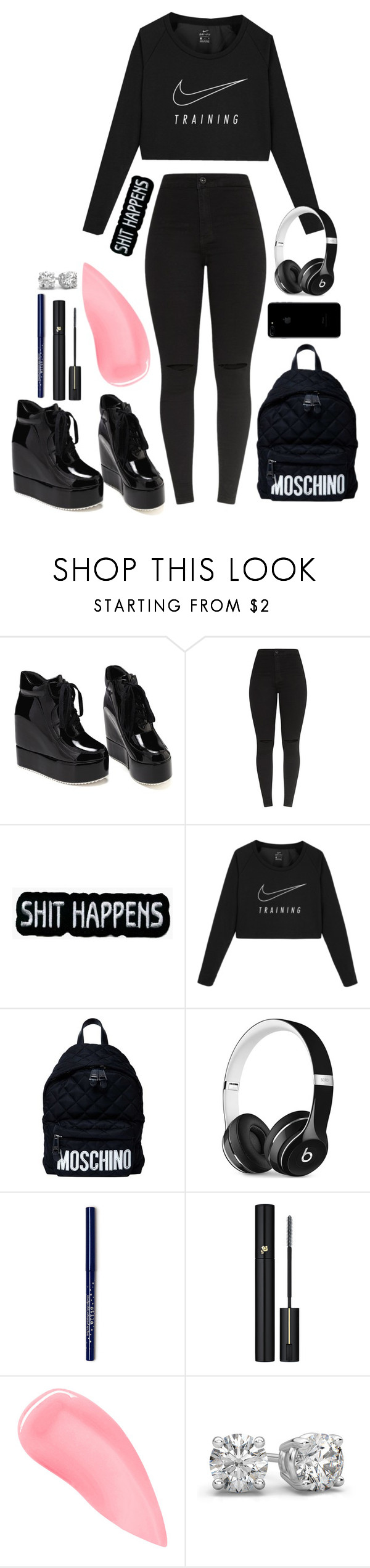 """All Black😎"" by kristine9595 ❤ liked on Polyvore featuring NIKE, Moschino, Beats by Dr. Dre, Lancôme and Kevyn Aucoin"