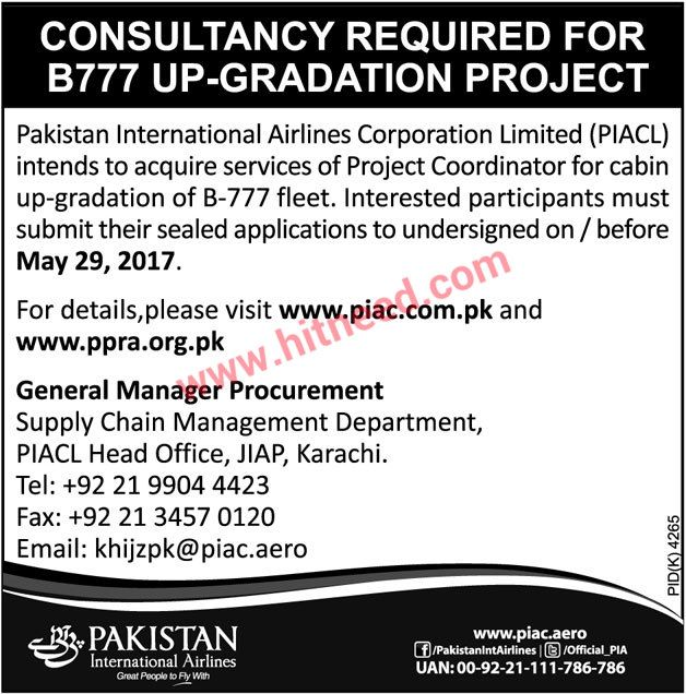 Pakistan International Airlines Pia Consultancy Required For B777 Up Gradation Project Pakistan International Ai Pakistan International Airlines Job Airlines