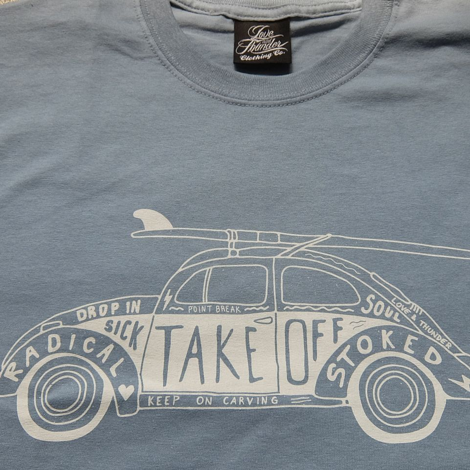 Vw Beetle With Surfboard By Love And Thunder Clothing Co
