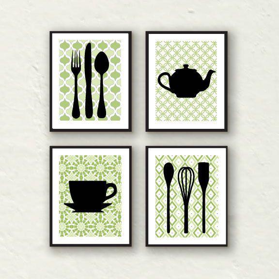 Modern Kitchen Wall Decor modern kitchen wall decor - utensils, teapot, teacup silhouette