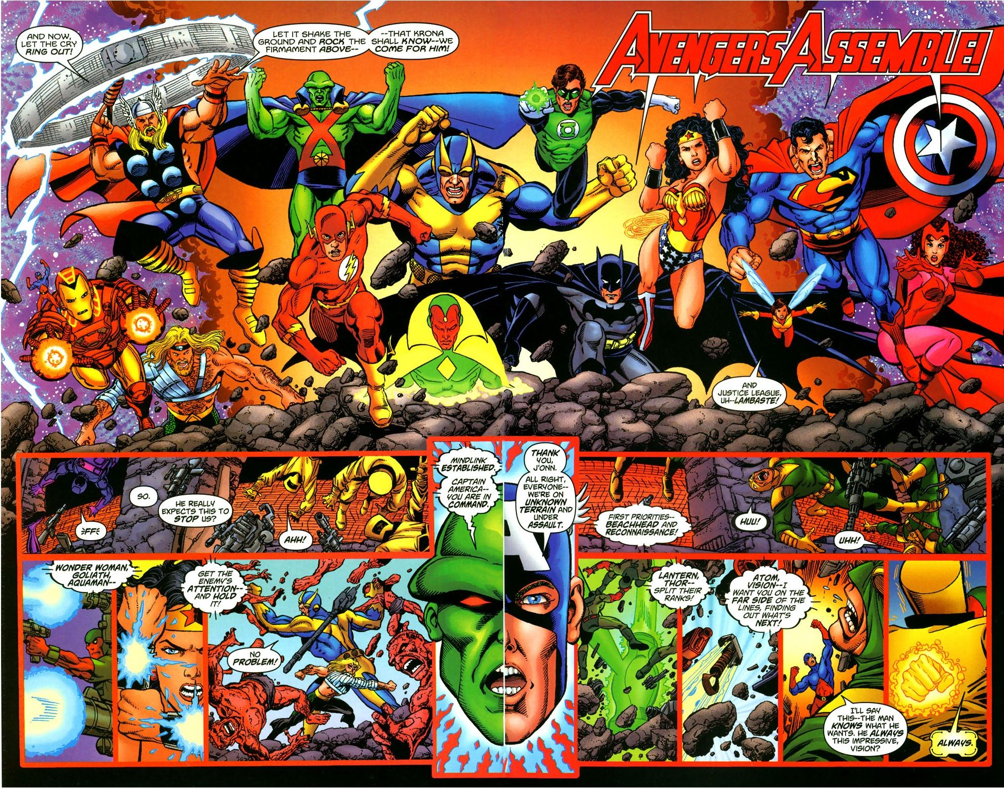 A Final Battle Begins Complete With Mindlink That The Jla Or The X Men Like To Use And The Forces Captain America Comic Captain America Comic Books Comics