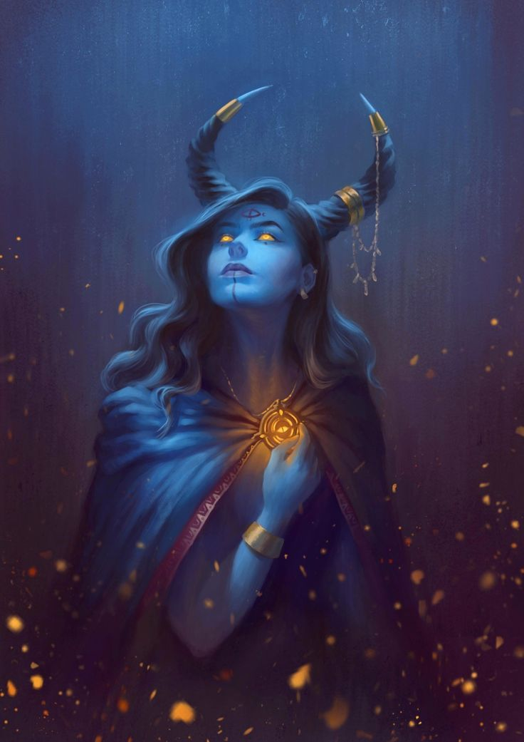 Female Tiefling Sorcerer Oracle Spell Caster Blue Skin And Horns