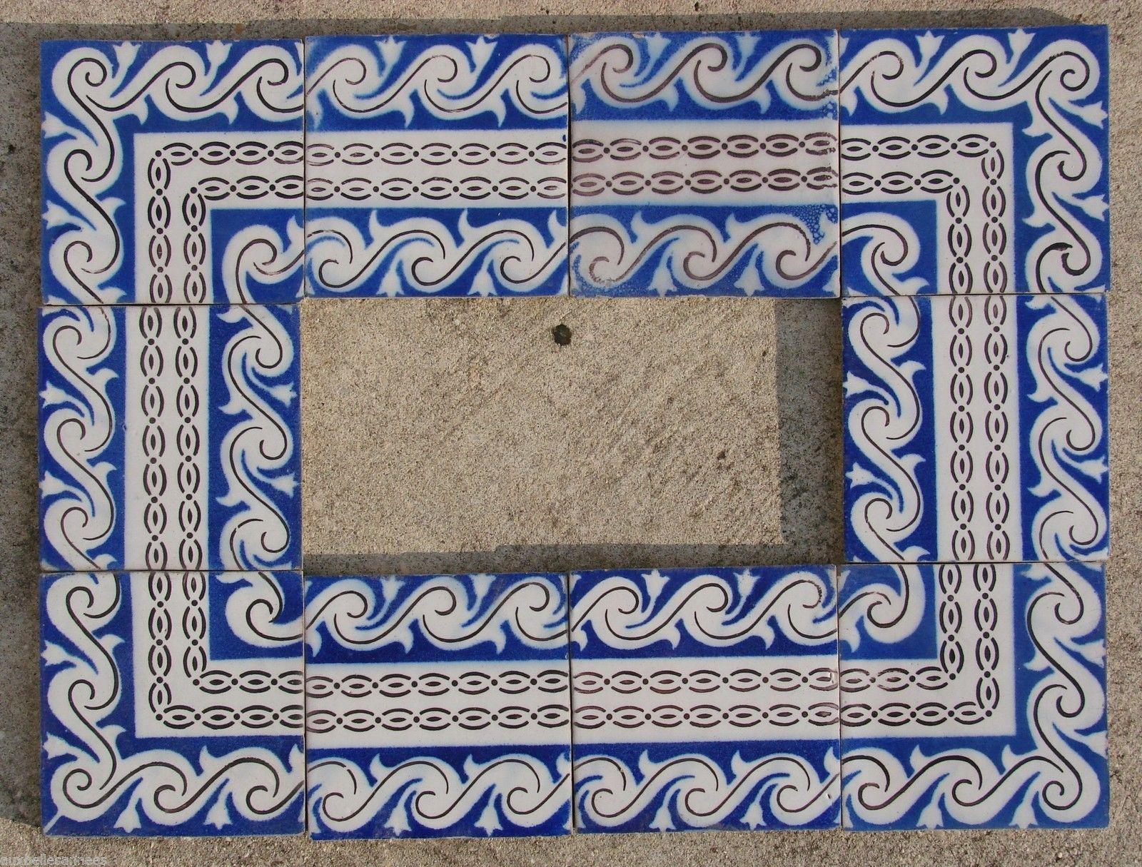 Ancien Carreau DE Faience Terre Cuite Bleu Ponchon Carrelage - Carrelage ceramique