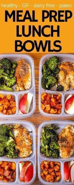 Photo of Meal Prep Lunch Bowls with Spicy Chicken, Roasted Lemon Broccoli, and Caramelized Sweet Potatoes