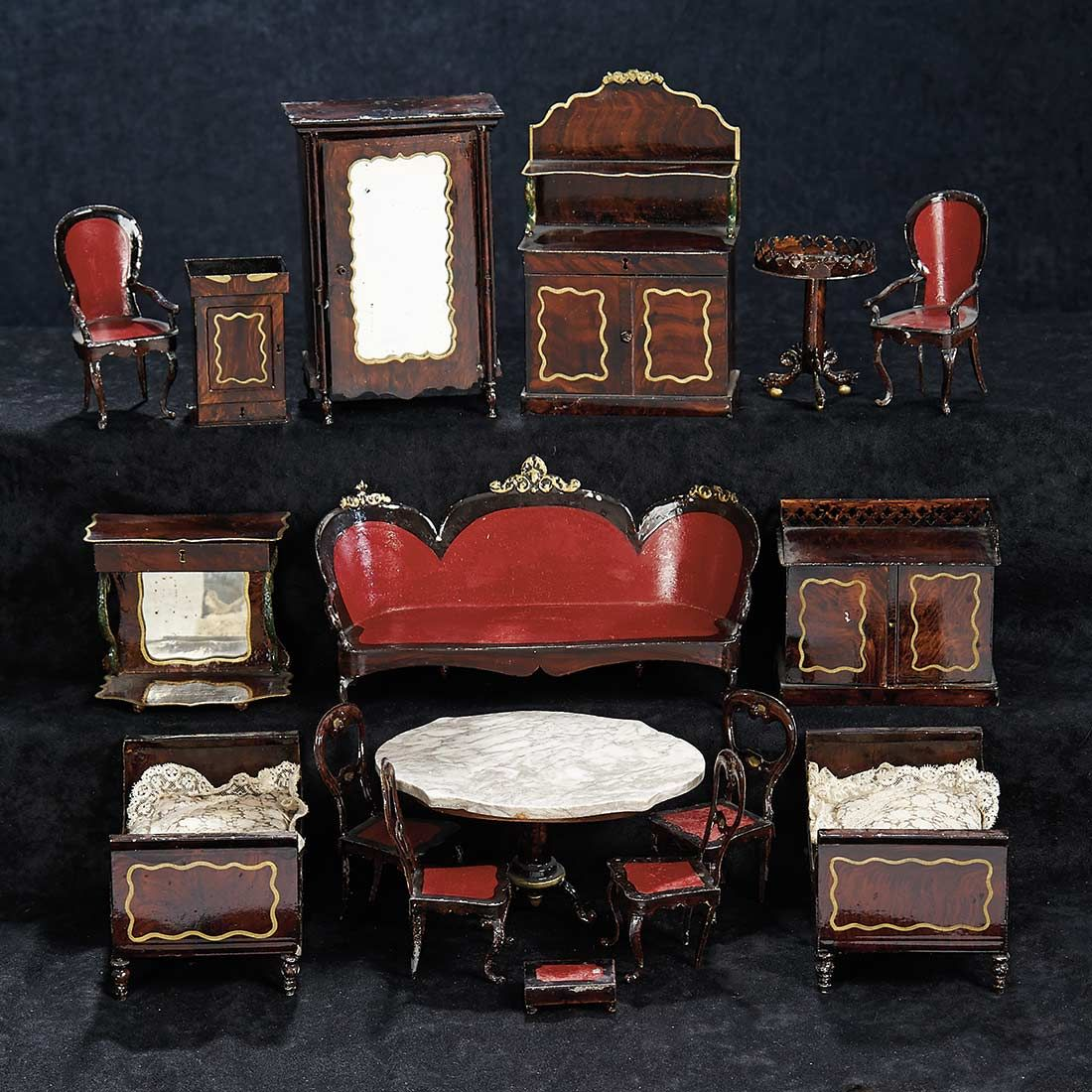 Collection of German Painted Tin Miniature Furniture by ...