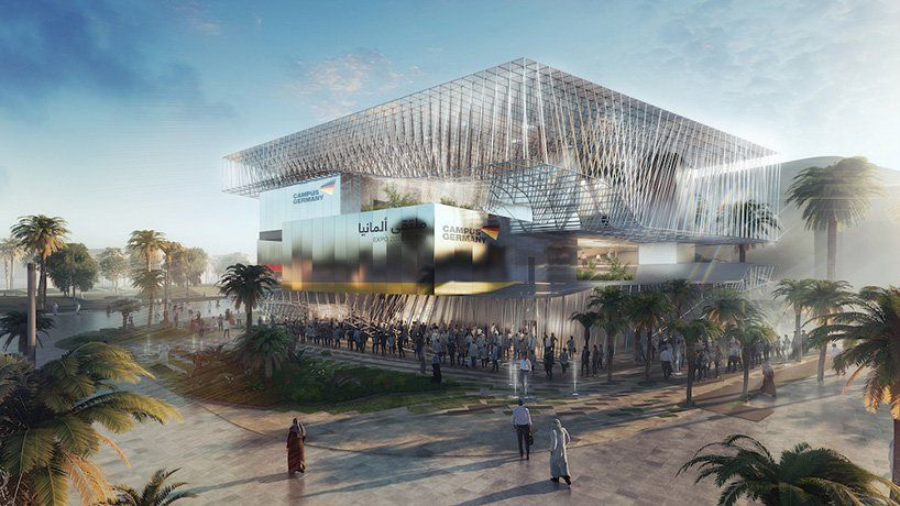 The German Pavilion Expo 2020 Dubai By Lava Is Topped With A Freeform Roof Architecture Expo 2020 Pavilion