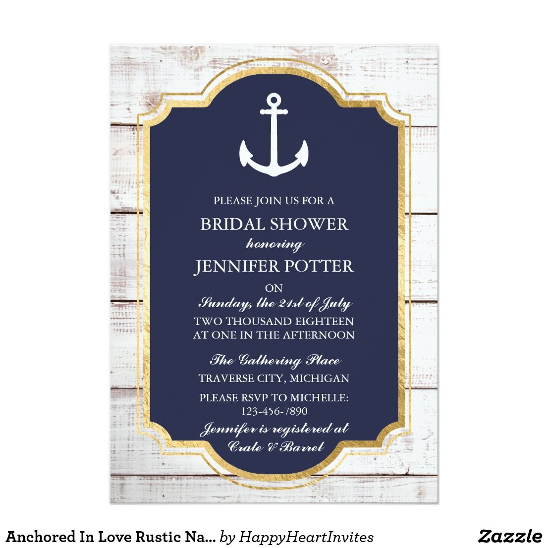 8ad129b287c Anchored In Love Rustic Nautical Bridal Shower Invitation