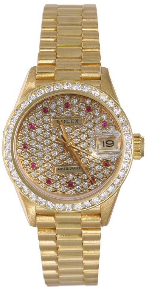 Rolex Ladies President Ruby Pave Diamond Face Pave Set Bezel Rolex Women Rolex Datejust Women Rolex