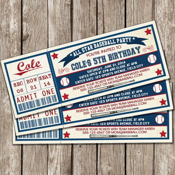Printable Baseball Ticket Birthday Photo Invitation | All Star ...