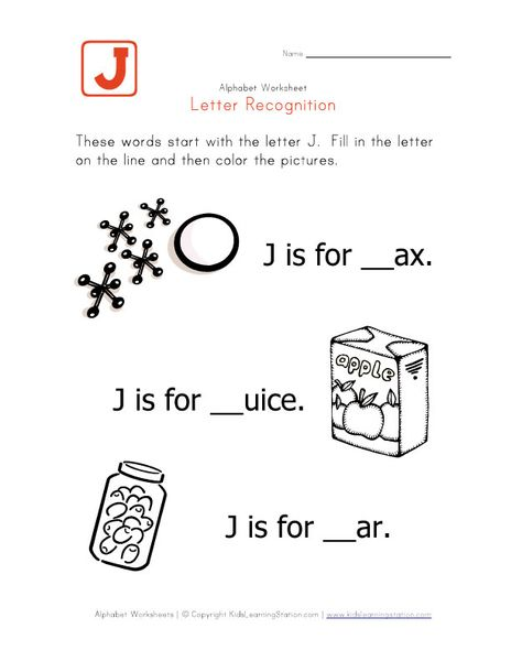 Words that start with the letter J Print for Lily