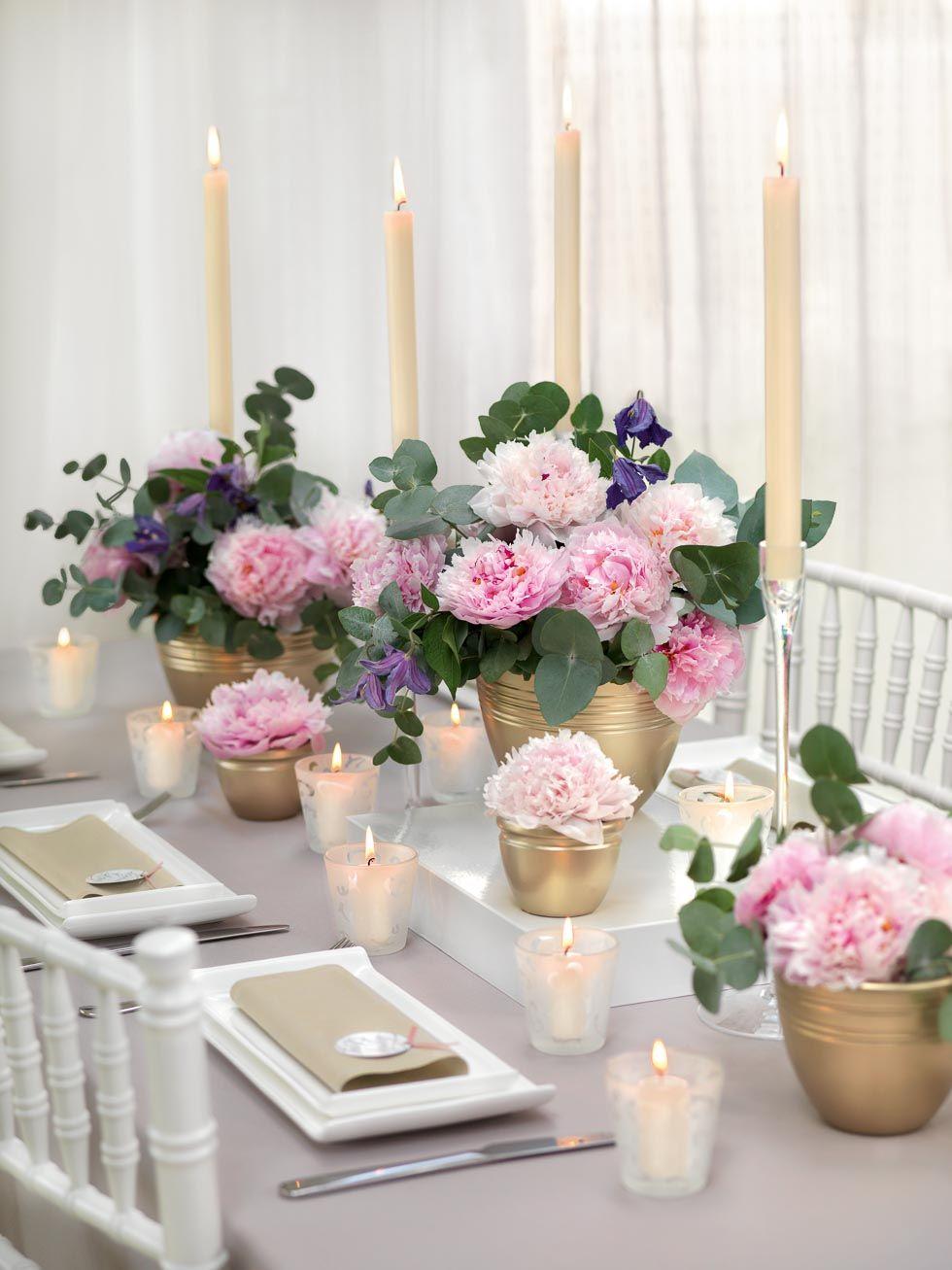 Tischdekoration Gold Rosa Und Lila Dekoration Hochzeit Tischdeko Hochzeit Blumendeko Hochzeit