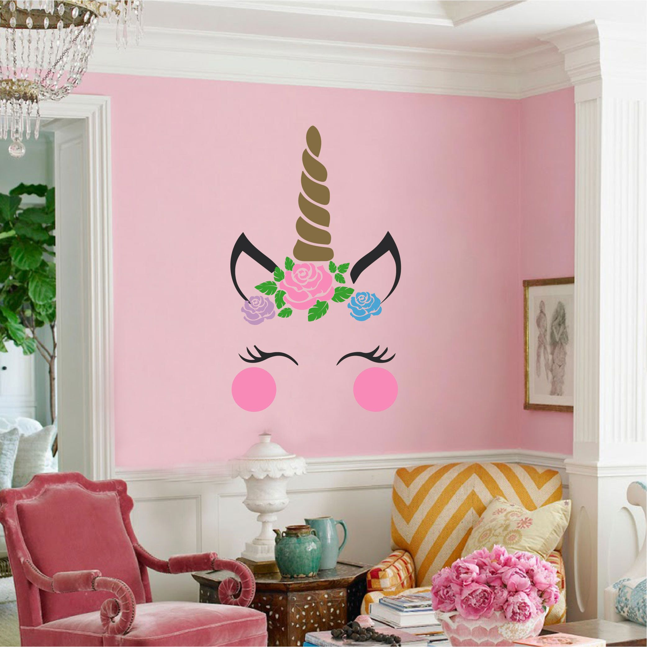 unicorn with flower crown vinyl wall decal etsy on wall stickers design id=66581