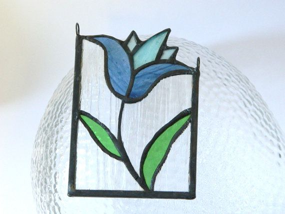 Mini stained glass panel: a blue tulip by ioart on Etsy