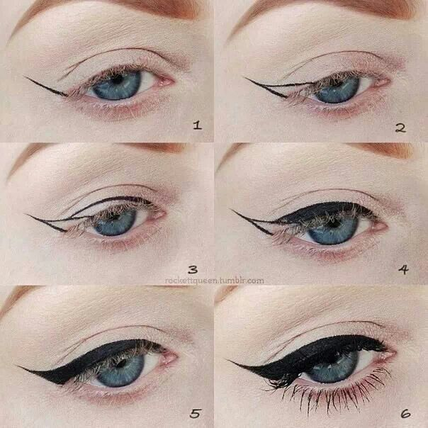 How to do a feathered eye liner