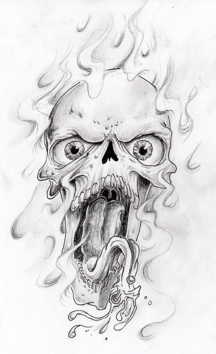 Flaming Horror Skull Tattoo Design Jpg 708 1157 Skulls Drawing Skull Art Drawing Evil Skull Tattoo