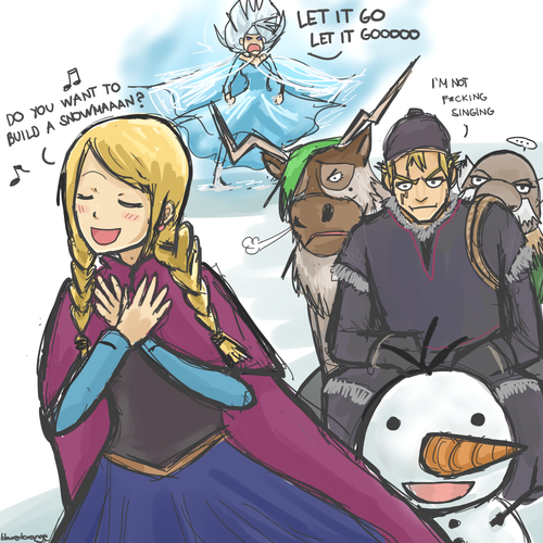 Yes  Just yes  Mira as Elsa  Lucy as Anna  And Laxus as