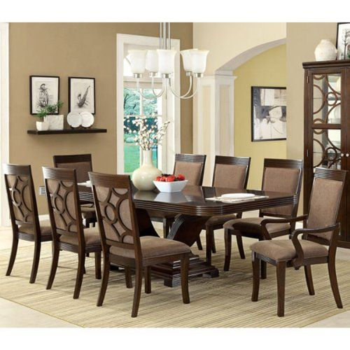Woodmont Solid Wood Walnut Finish Formal 9-Piece Dining ...