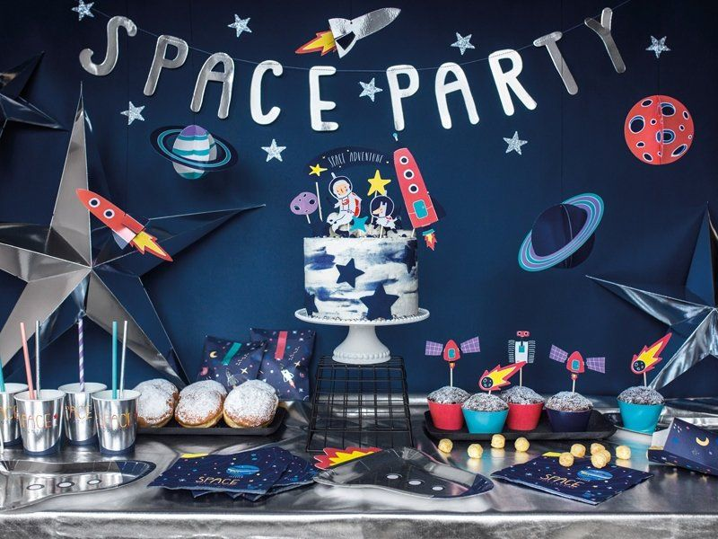 3 Space Honeycomb Hanging Decorations Planets Rocket Ship Fun 1st Birthday Party