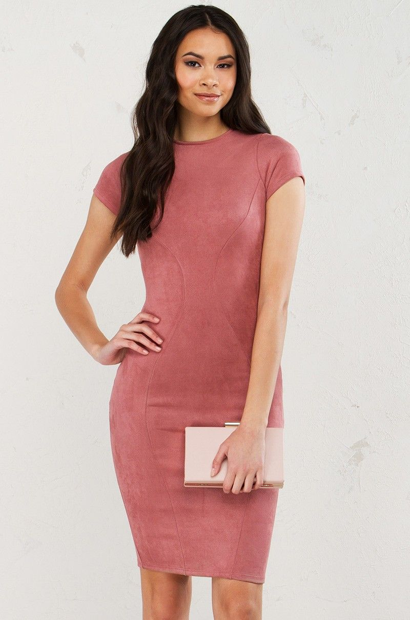 Front view short sleeve faux suede dress in mauve work pinterest