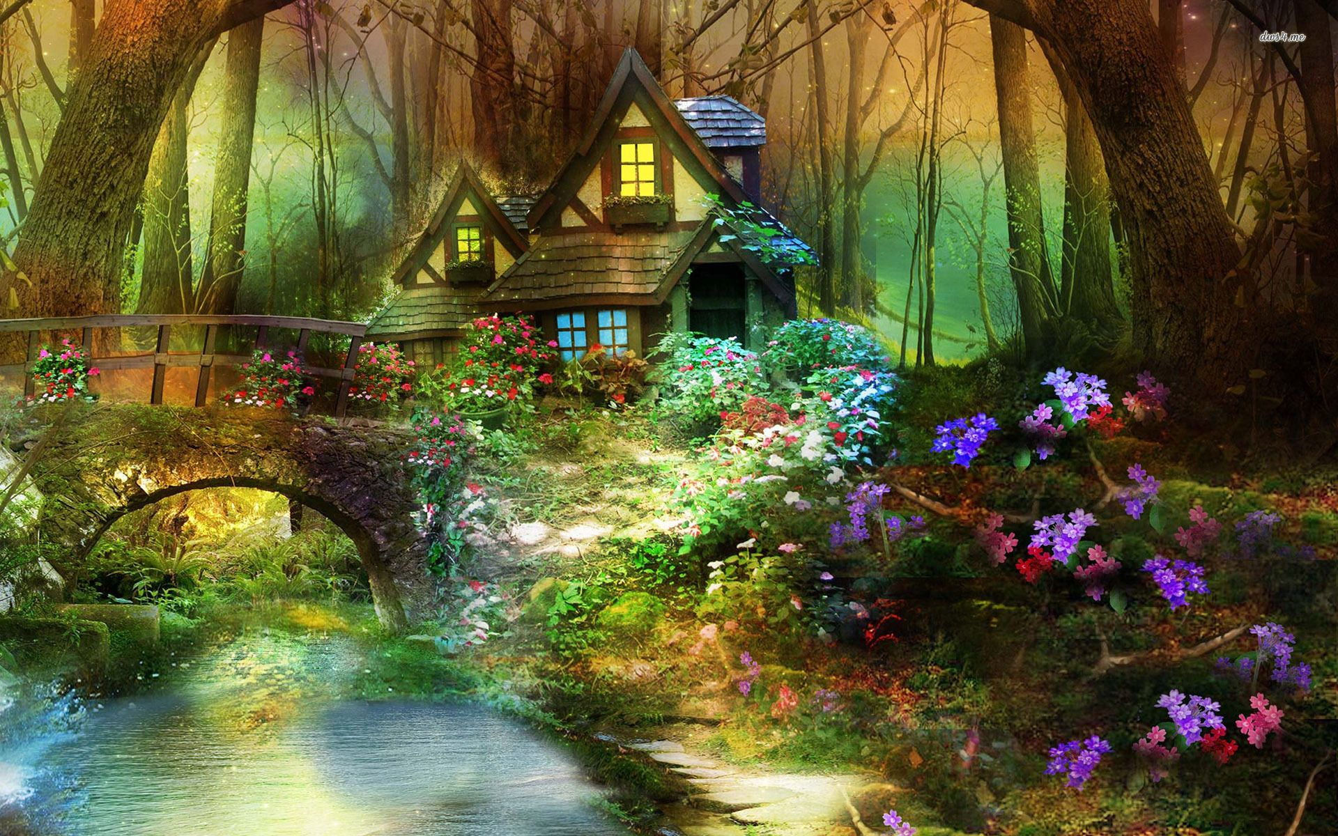 Enchanted forest hut scenery mystical forest writing for Wallpaper home photos