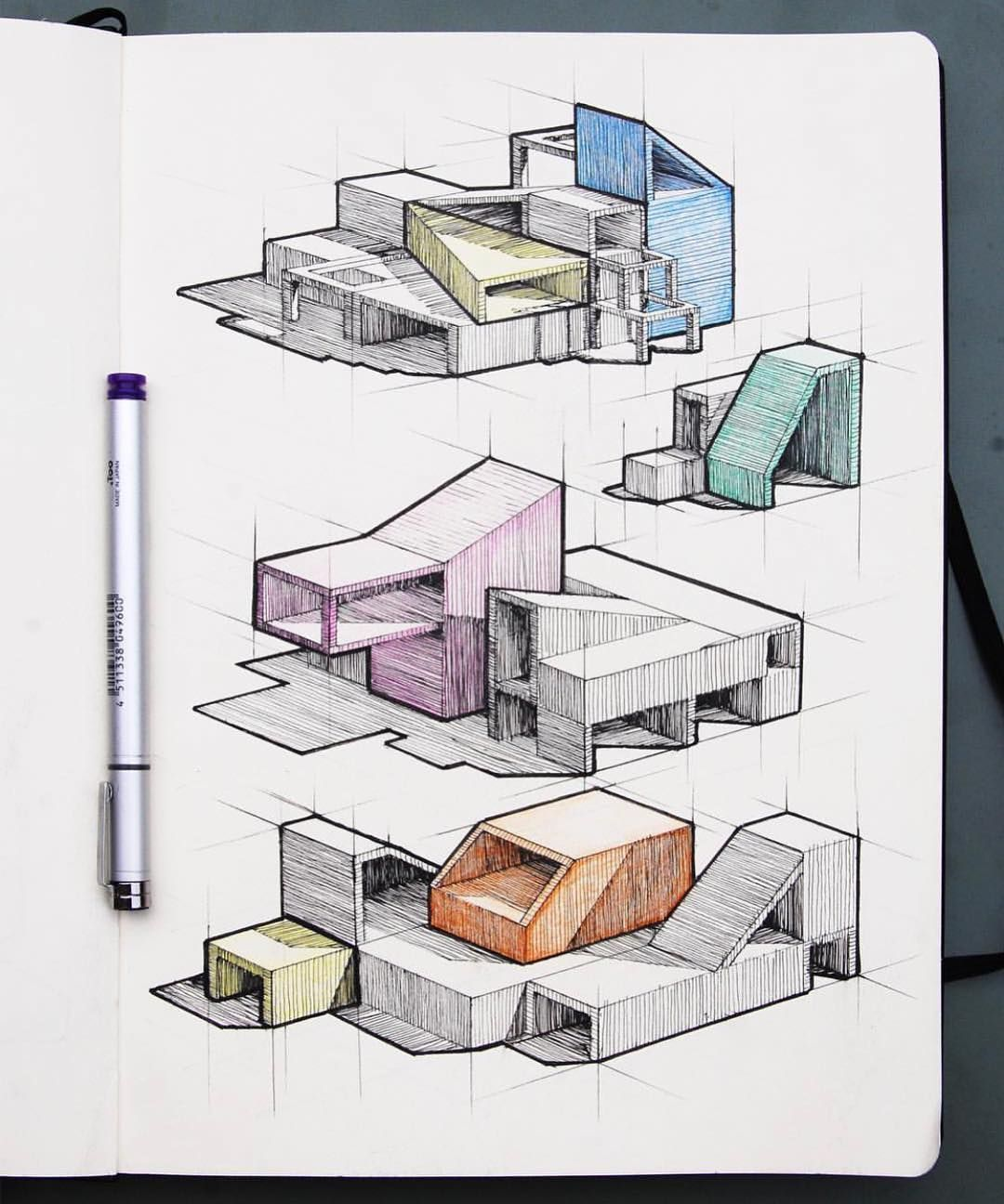"""CritDay - Daily Architecture on Instagram: """"More Isometric Perspective Sketches from @martijnvanberkum / - Send your drawings/models/projects @critday -> #itscritday #critday…"""" - Lauralee"""