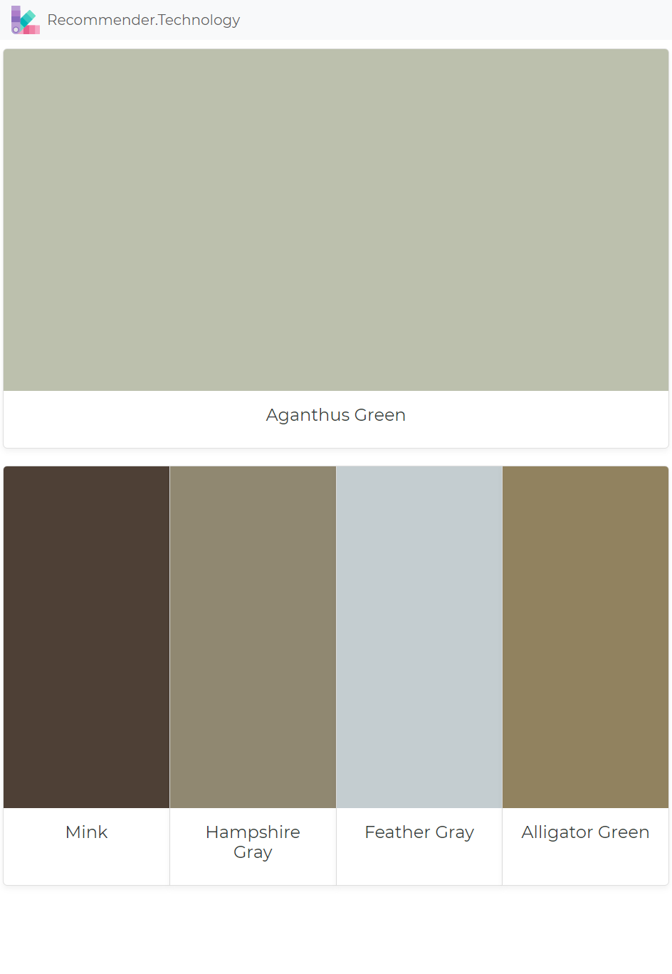 Benjamin Moore Aganthus Green: Aganthus Green: Mink, Hampshire Gray, Feather Gray