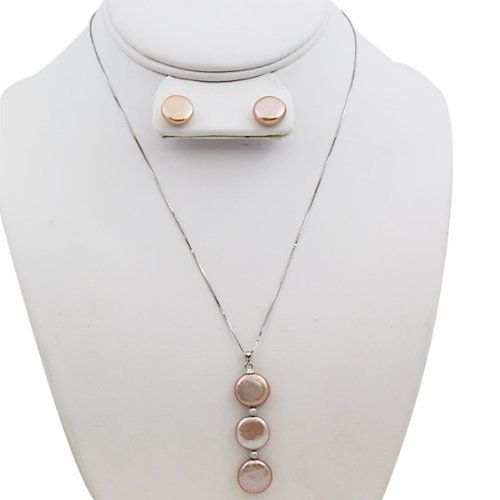 Peach Triple Button Pearl Necklace & Earring Set 12mm Gem Stone King. $31.99. Freshwater Pearls; 925 Sterling Silver