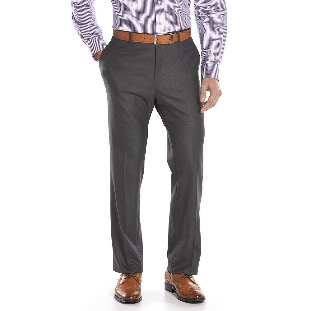 Alfani RED Slim Fit Gray Striped 100/% Wool Flat Front Dress Pants