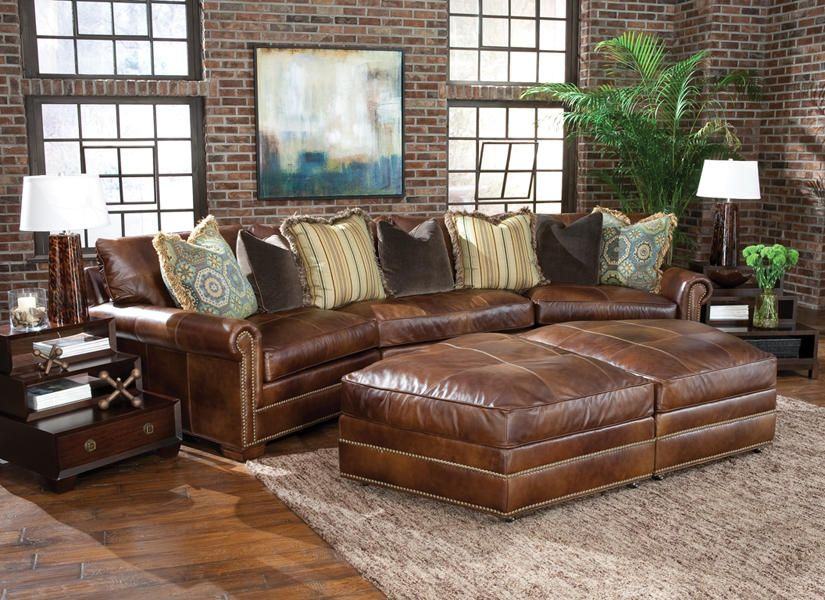 Pit Sectional Couches huntington house l7107 #leather 3-piece wedge pit group #sectional