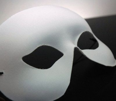Adult Half  Face Blank White Masks     $3  each / 6 for $2.50 each