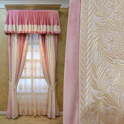 雅熙莱帝 品牌大气客厅卧室高档奢华绒布绣花窗帘 西西丽娅货期慢