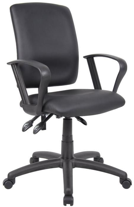 Adjustable Loop Arms Office Chair Black Pu Leatherette