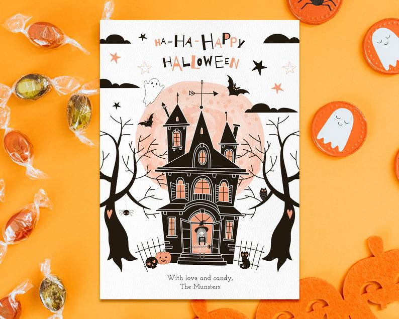 Happy Halloween Editable Instant Download Card Template Etsy In 2020 Printable Holiday Card Happy Halloween Card Template