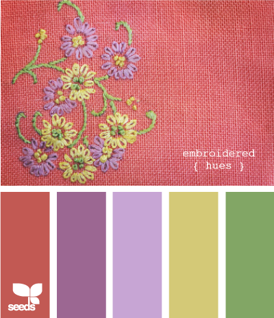 embroidered hues--never would have pictured that orangeish brown color with the others, but pretty--that's why I need something like this website ;)