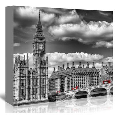 "East Urban Home London Big Ben & Red Bus Graphic Art on Wrapped Canvas Size: 24"" H x 30"" W x 1.5"" D"