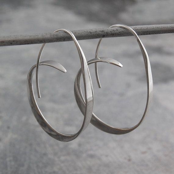 Zilver Hoop Earrings Zilveren Oorbellen 925 Hoepels Ongebruikelijke Hoepel Grote Moderne