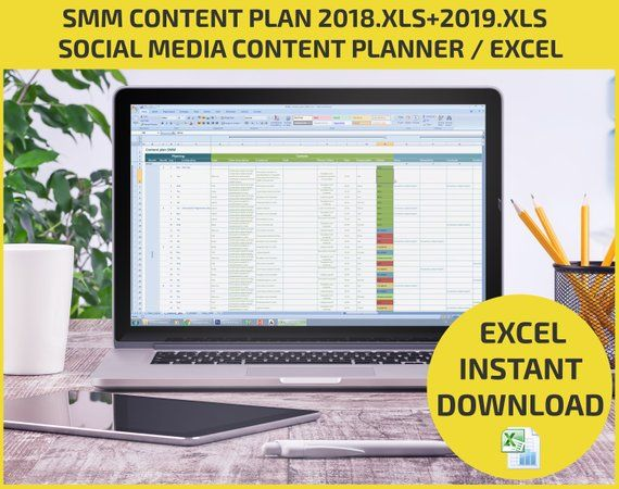 Excel Social Media Content Plan 2018,2019 / SMM Calendar template