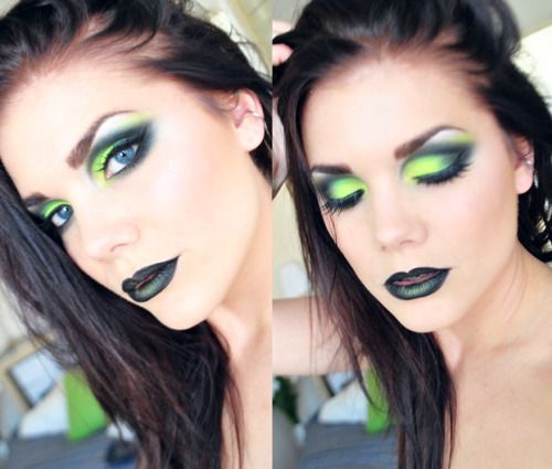Black lipstick with a touch of neon green loose powder paired with dramatic neon green and gunmetal gray eyeshadow. ABSOLUTELY LOVE <3 <3 <3