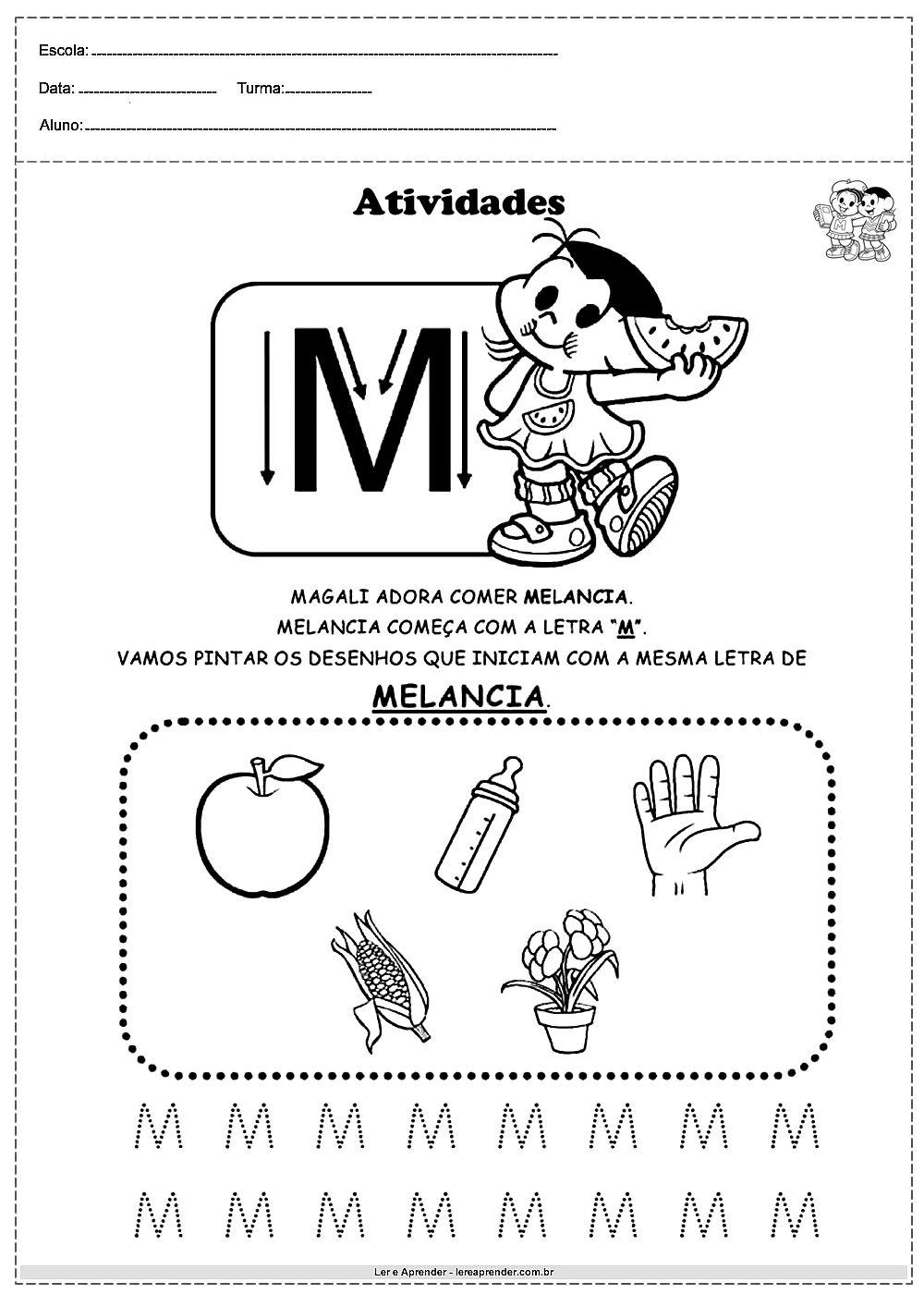 Atividades Com Alfabeto Turma Da Monica Letra M Atividades Com O