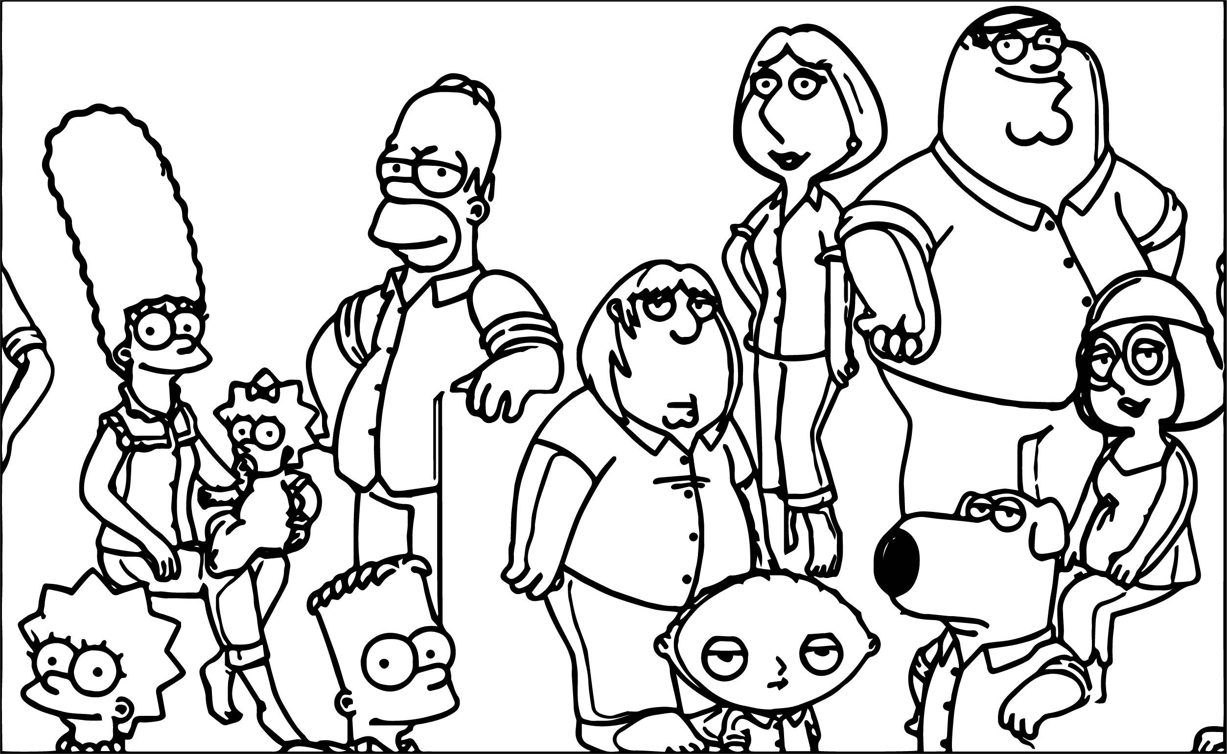 Nice Family Guy And The Simpsons Crossover Coloring Page Coloring Pages The Simpsons Bible Coloring Sheets