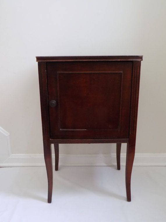 Antique cigar pipe smoking stand side table cabinet