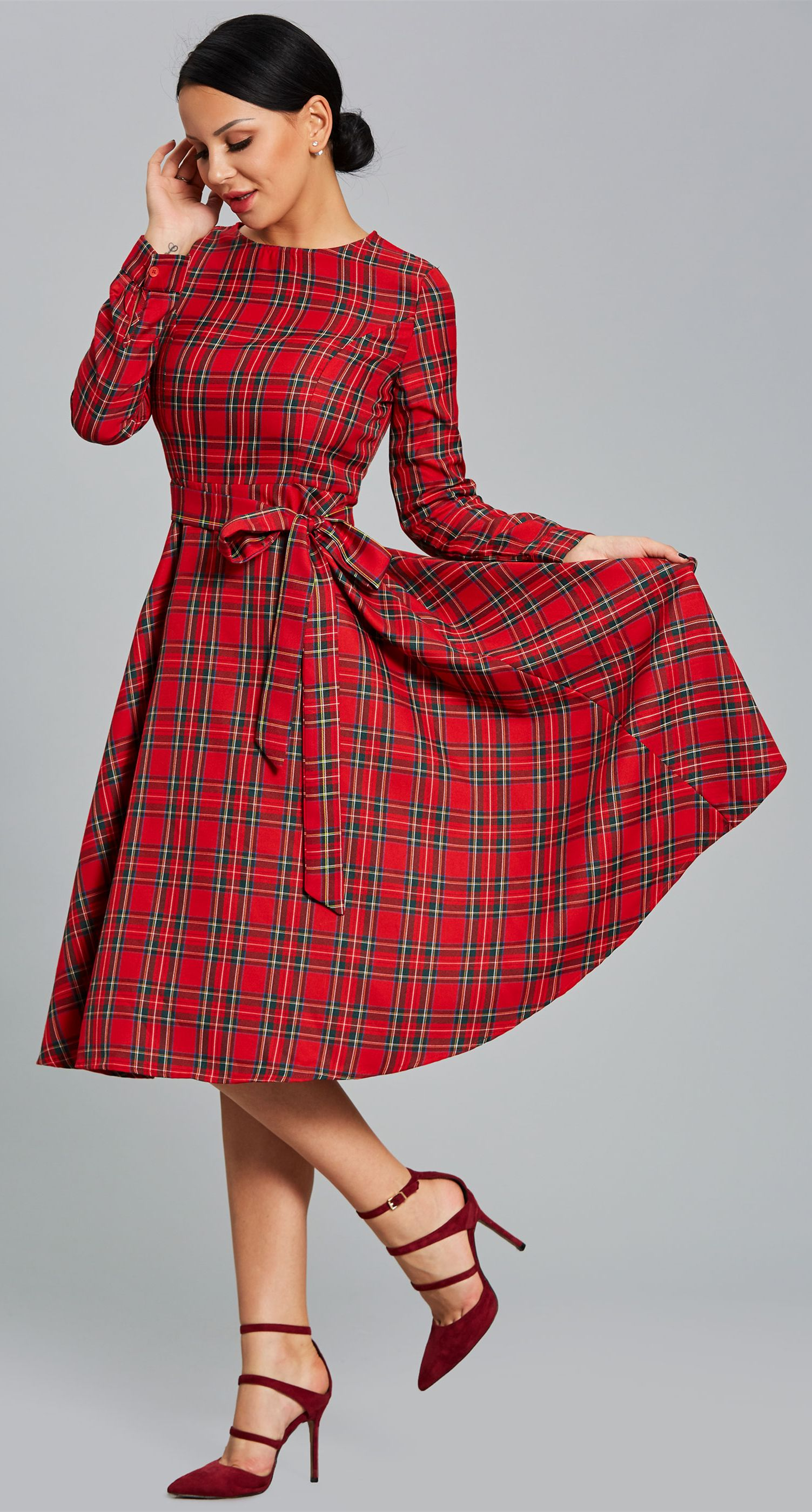Plaid long sleeve bowknot womenus skater dress plaid and maxi dresses