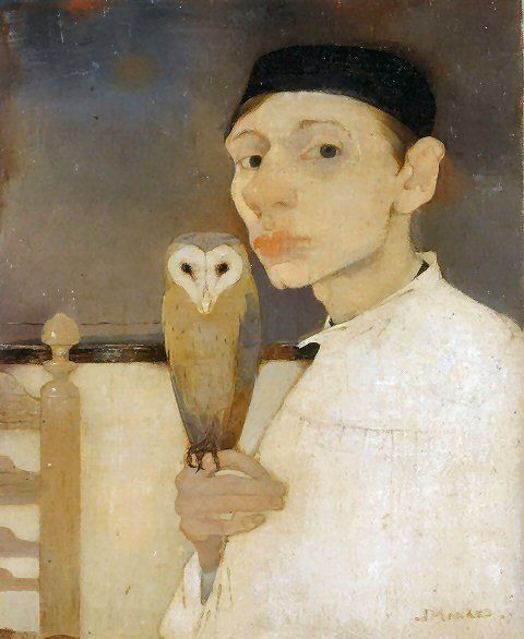 Jan Mankes, Autorretrat amb una òliba. 1911. Oli sobre tela. Arnhem: Museum voor Moderne Kunst.