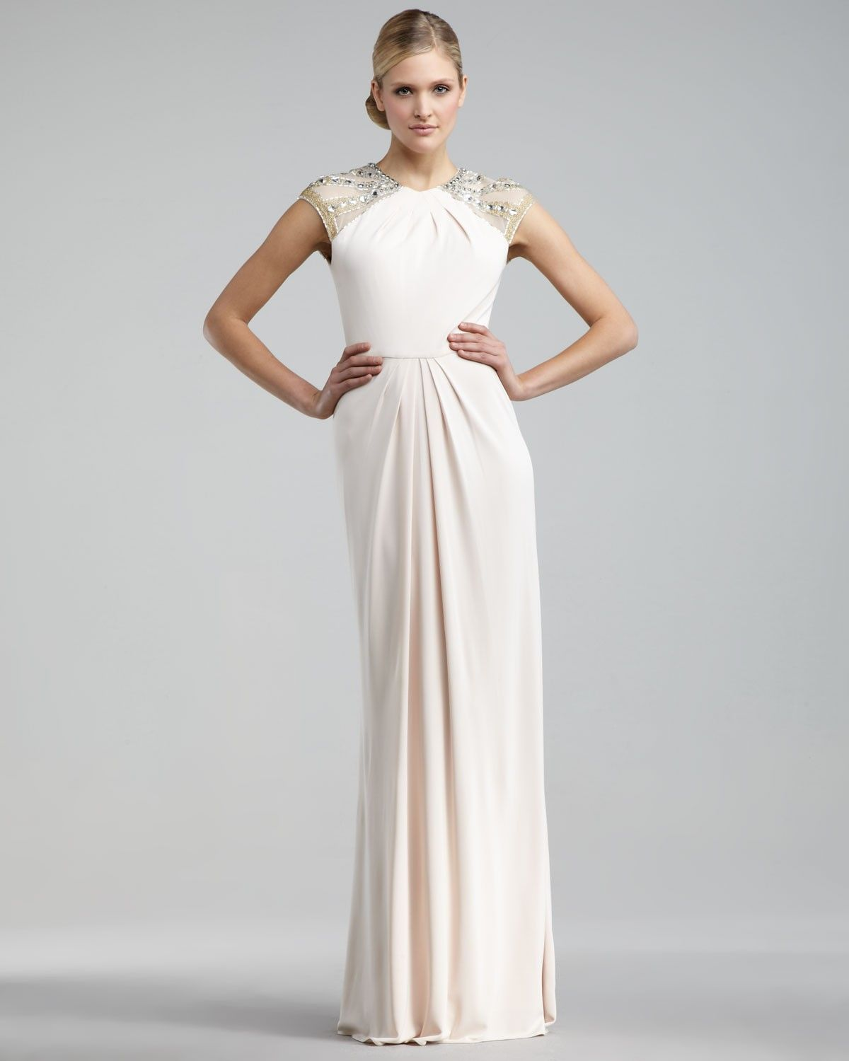 Elegant Sleeveless A-Line/Princess Jewel Chiffon Floor Length ...