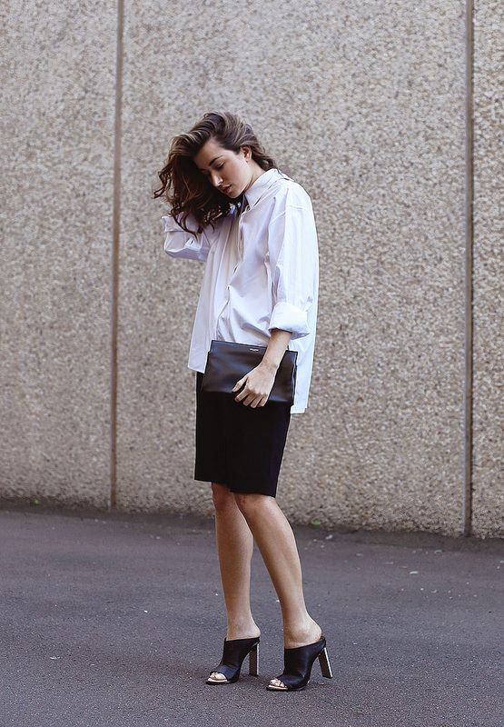 Wearing Dion Lee shirt (available at David Jones), Scanlan Theodore shorts and Manning Cartell shoes.- untucked oversized button down + pencil skirt