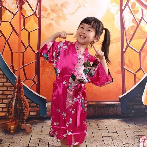 Kids Robe Satin Children Kimono Robes Bridesmaid Flower Girl Dress Silk  children s bathrobe Nightgown Kimono Peacock robe 65c51f14a