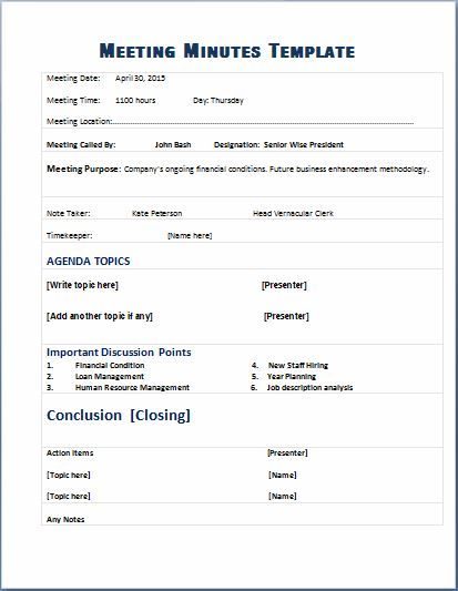Formal Meeting Minutes Template  Formal Meeting Agenda Template