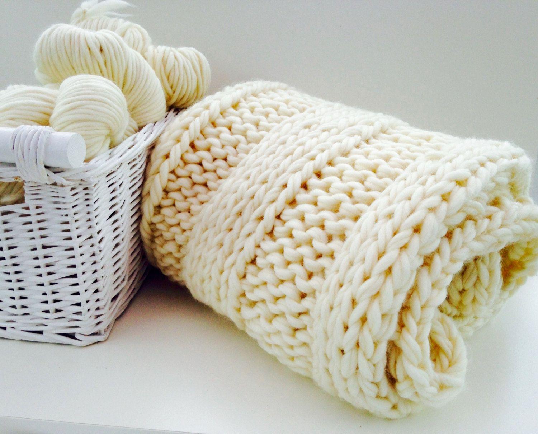 Knit Kit Throw. Luxury Super Chunky Giant Blanket DIY