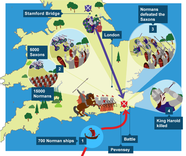Map Showing Where The Battle Hastings Took Place 1 700 Norman